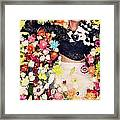Fashion Model Posing With Flowers Framed Print