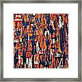 Modern Abstract Painting Original Canvas Art Shadow People By Zee Clark Framed Print