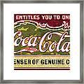 Coca - Cola Vintage Poster Framed Print