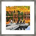 Wooden Dock On Autumn Lake Framed Print