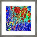 Modern Abstract Painting Original Canvas Art Atoms By Zee Clark Framed Print