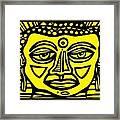 Jakubek Buddha Yellow Black Framed Print