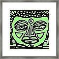 Cleark Buddha Green Black Framed Print