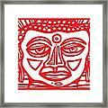 Barbot Buddha Red White Framed Print