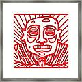Pisco Buddha Red White Framed Print