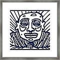 Frisby Buddha Blue White Framed Print