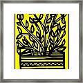 Heidecker Plant Leaves Yellow Black Framed Print