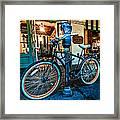 A Bike In Front Of Cafe Du Monde In New Orleans Framed Print
