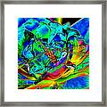 A Cosmic Dragonfly On A Psychedelic Rose Framed Print