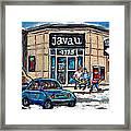 Montreal Art Exhibit At Java U Carole Spandau Montreal Street Scenes Paintings Hockey Art  Framed Print