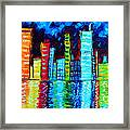Abstract Art Landscape City Cityscape Textured Painting City Nights II By Madart Framed Print by Megan Duncanson