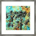 Abstract Art Landscape Metallic Gold Textured Painting Spring Blooms II By Madart Framed Print