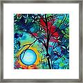 Abstract Art Landscape Tree Blossoms Sea Painting Under The Light Of The Moon I  By Madart Framed Print by Megan Duncanson