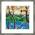 Abstract Art Original Alaskan Wilderness Landscape Painting Land Of The Free By Madart Framed Print by Megan Duncanson