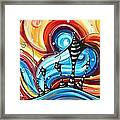 Abstract Art Original Colorful Funky House Painting Home On The Hill By Madart Framed Print