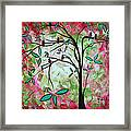 Abstract Art Original Whimsical Magical Bird Painting Through The Looking Glass  Framed Print