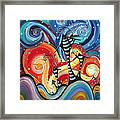 Abstract Art Whimsical Cityscape Funky Houses Homeland By Madart Framed Print by Megan Duncanson