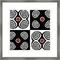 Abstract Black White Red Op Art Minimalism No.217  Framed Print by Drinka Mercep