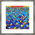 Abstract Blue Poppies In Sunrise -original Oil Painting Framed Print