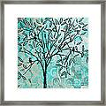 Abstract Floral Birds Landscape Painting Bird Haven II By Megan Duncanson Framed Print