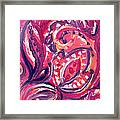 Abstract Floral Design Purple Note Framed Print