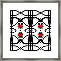Abstract Geometric Black White Red Pattern Art No.173. Framed Print