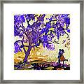 Abstract Jacaranda Tree Lovers Framed Print by Ginette Callaway