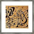 Abstract Jazz Music Coffee Painting Framed Print