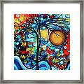 Abstract Landscap Art Original Circle Of Life Painting Sweet Serenity By Madart Framed Print