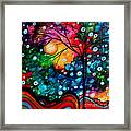 Abstract Landscape Colorful Contemporary Painting By Megan Duncanson Brilliance In The Sky Framed Print by Megan Duncanson