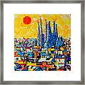 Abstract Sunset Over Sagrada Familia In Barcelona Framed Print
