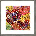 Abstract Valentines Love Hearts Framed Print by Julia Apostolova