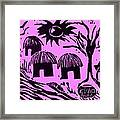 African Huts Pink Framed Print