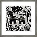 African Huts White Framed Print