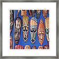 African Tribal Masks In Sidi Bou Said Framed Print