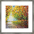 After Rain Autumn Reflections Acrylic Palette Knife Painting Framed Print