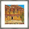 Al-dayr Or The Monastery In Petra-jordan  Framed Print