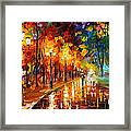 Alley Of The Memories - Palette Knife Oil Painting On Canvas By Leonid Afremov Framed Print