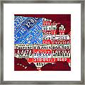 American Flag Map Of The United States In Vintage License Plates Framed Print by Design Turnpike