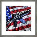 American Flag With Rifle Framed Print by Geoffrey Coelho