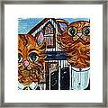 American Gothic Cats - A Parody Framed Print