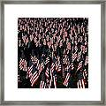 Field Of Flags - Sturbridge Mass. Framed Print