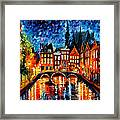 Amsterdam-canal - Palette Knife Oil Painting On Canvas By Leonid Afremov Framed Print