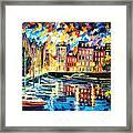 Amsterdam's Harbor - Palette Knife Oil Painting On Canvas By Leonid Afremov Framed Print