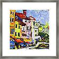 Annecy France Canal And Bistros Impressionism Knife Oil Painting Framed Print
