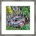 Antique Car With Trees In Windshield Framed Print