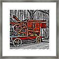 Antique Hay Baler Selective Color Framed Print