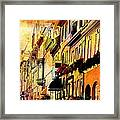Antiqued Photograph Of Townhouses Framed Print