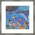 Aquatic Mosaic Tile Art Framed Print