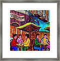 Art Of Montreal Enjoying A Pint At Ye Olde Orchard Irish Pub And Grill Monkland Village Cafe Scenes Framed Print